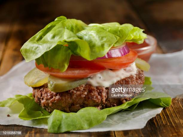 low carb - lettuce wrap burger - lettuce stock pictures, royalty-free photos & images