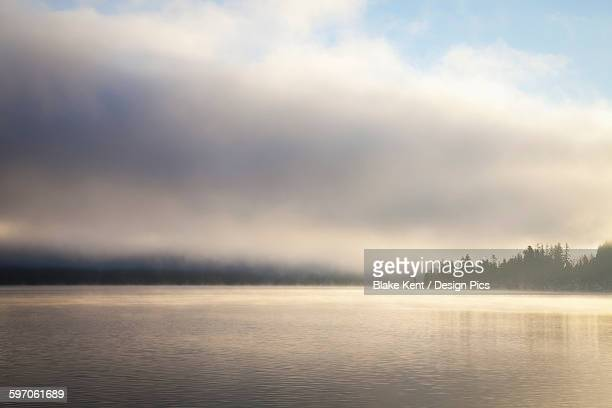 Low cloud and mist on Lake Whatcom at sunrise