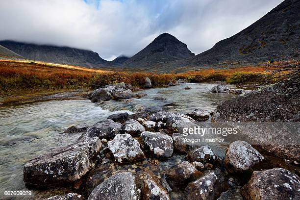 Low cloud at Malaya Belaya River valley, Khibiny mountains, Kola Peninsula, Russia