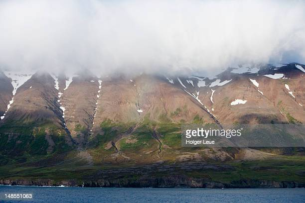 Low clouds and Eyjafjordur hills.