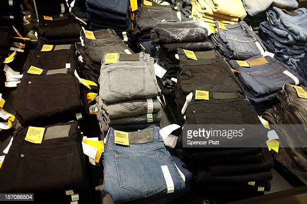 Low cost jeans are displayed at a discount clothing store on November 28 2012 in New York City Following a fire at Tazreen Fashions Ltd factory in...
