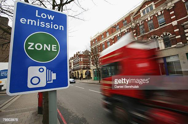 Low emission zone sign is pictured on February 4, 2008 in London, England. The start of the legislation will charge operators of affected lorries,...