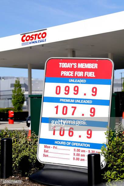Low fuel prices are pictures at Costco in Southampton on April 21, 2020 in Southampton, United Kingdom. The slump in demand for oil due to the...