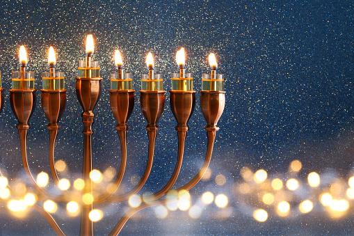 Low key Image of jewish holiday Hanukkah background 611195854