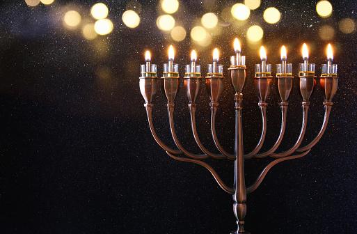 Low key Image of jewish holiday Hanukkah background 618868606