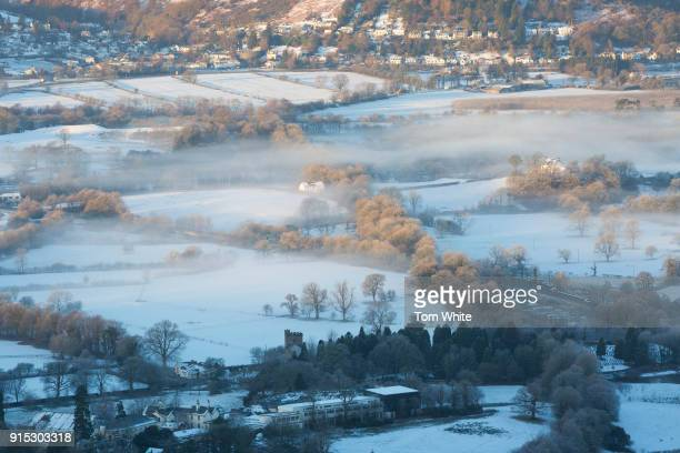 Low morning mist clings to the valley floor on February 7 2018 near Keswick England Freezing conditions are continuing with forecasters predicting...