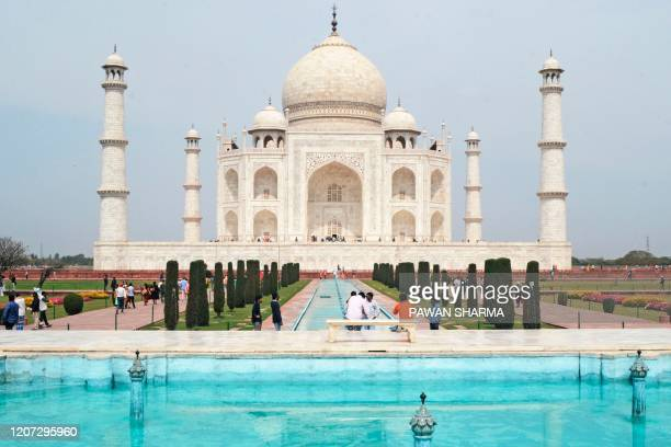 Low number of tourists are seen at Taj Mahal amid concerns over the spread of the COVID-19 novel coronavirus, in Agra on March 16, 2020.