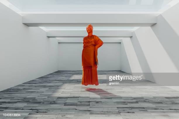 Estatua abstracta de baja poli de Atenea
