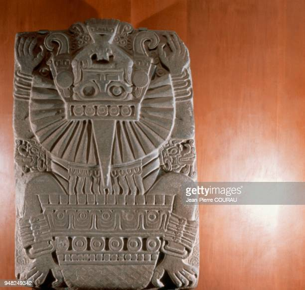 Low relief representing TLALTECUHTLI monster of Huaxtec lands 1m70 high preserved at the National Museum of Anthropology in Mexico City The God of...