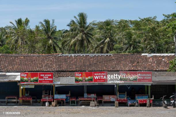 Low season at the Green Canyon food stalls near Pangandaran on the 30th October 2019 in Java in Indonesia