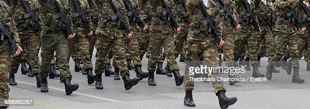 Low Section Of Army Soldiers At Greek Army Parade During Oxi Day