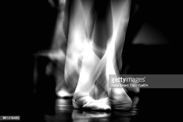 low section of ballet dancer - ballerina feet stock photos and pictures