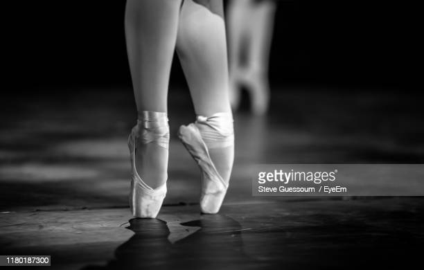 low section of ballet dancing on floor - steve guessoum stockfoto's en -beelden
