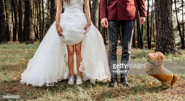 low section of bride and groom in forest with funny dog-shaped balloon - fake photos et images de collection