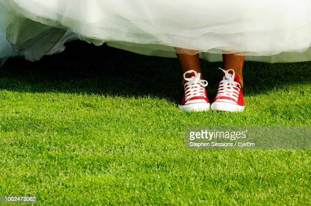 Low Section Of Bride Standing On Grassy Field