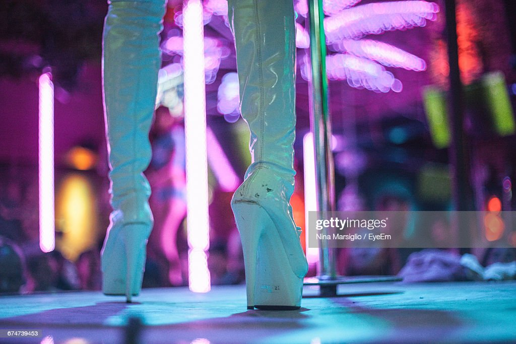 Low Section Of Dancer On Strip Club : Stock Photo