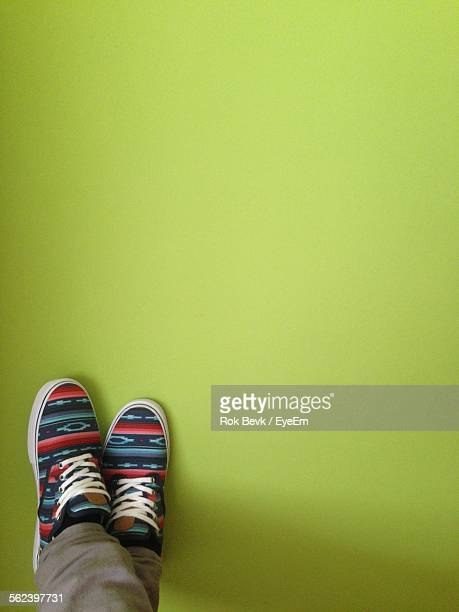 Low Section Of Legs Against Green Background