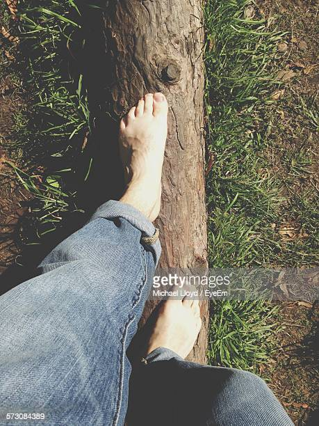 Low Section Of Man Balancing On Fallen Log In Park
