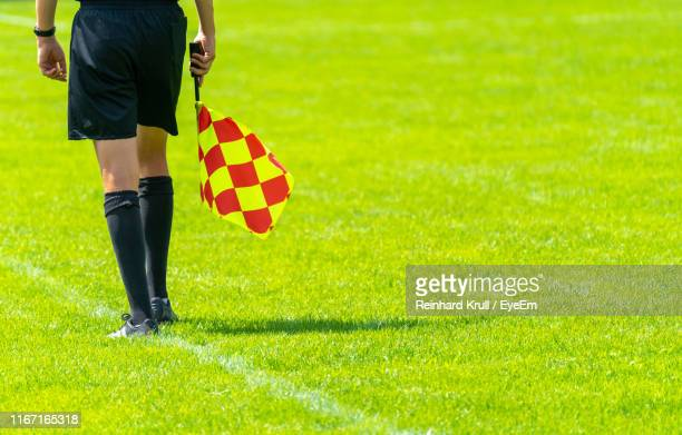 low section of man holding flag while standing on grassy field - schiedsrichter stock-fotos und bilder