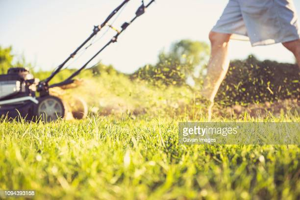 low section of man mowing grassy field in yard against sky during sunset - lawn stock pictures, royalty-free photos & images