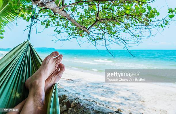 Low Section Of Man Relaxing On Hammock At Beach