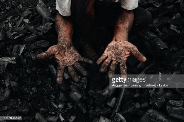 low section of man showing messy hands working on logs - coal stock pictures, royalty-free photos & images