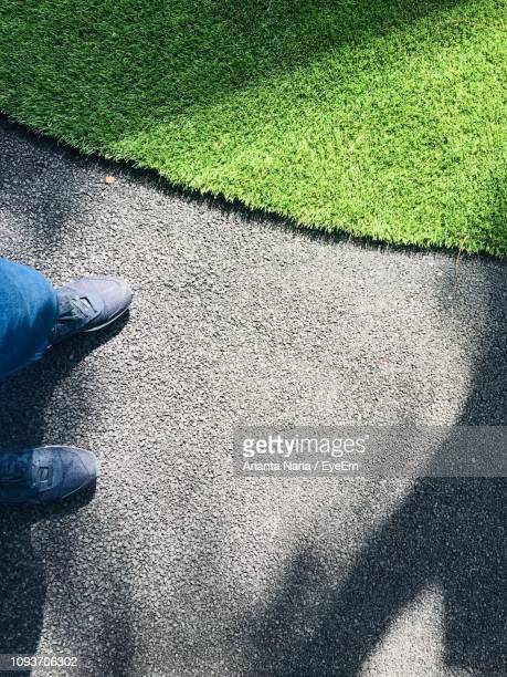 Low Section Of Man Standing By Grass