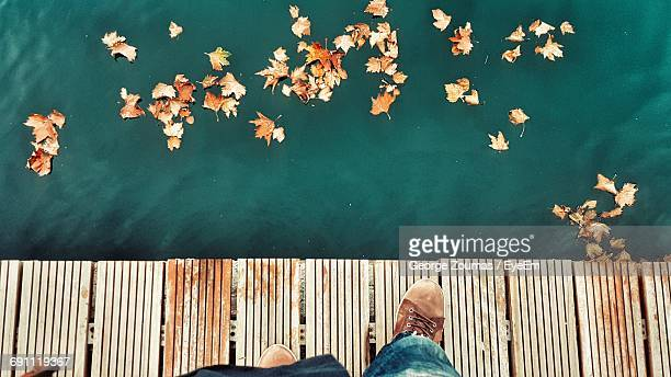 low section of man standing on boardwalk by fallen leaves floating on lake - partie inférieure photos et images de collection