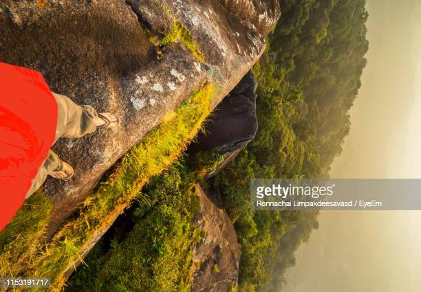 low section of man standing on rock by trees - chanthaburi stock pictures, royalty-free photos & images
