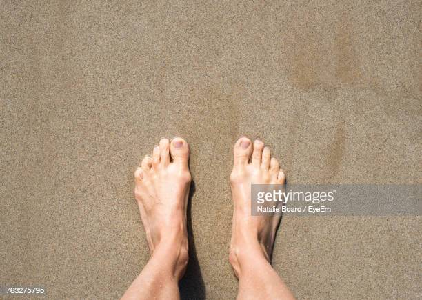 low section of man standing on sand at beach during sunny day - male feet stock photos and pictures