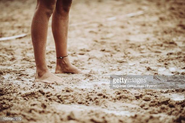 low section of man standing on sandy beach - cetkauskas stock pictures, royalty-free photos & images