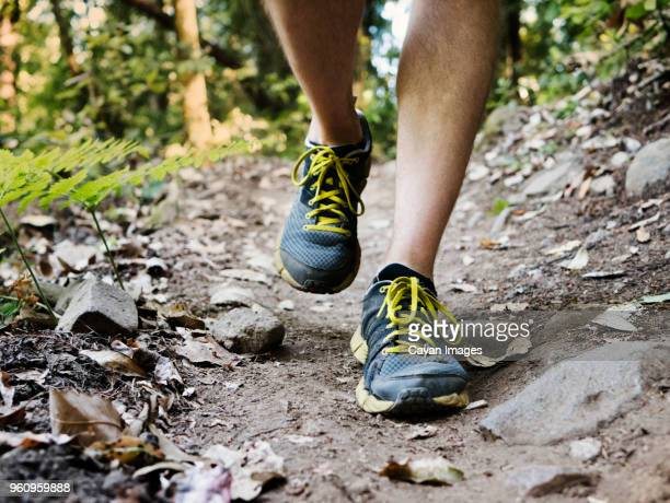 Low section of man walking on dirt footpath