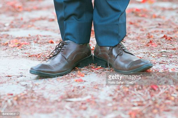 low section of man wearing shoes - dress shoe stock pictures, royalty-free photos & images