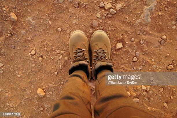low section of man wearing shoes while standing on land - bottes en cuir photos et images de collection