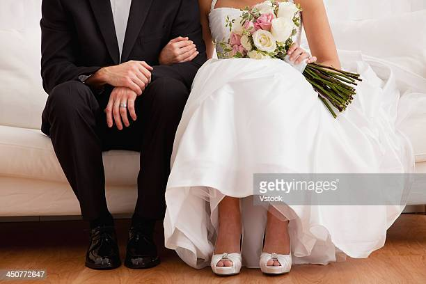 Low section of newly wed couple