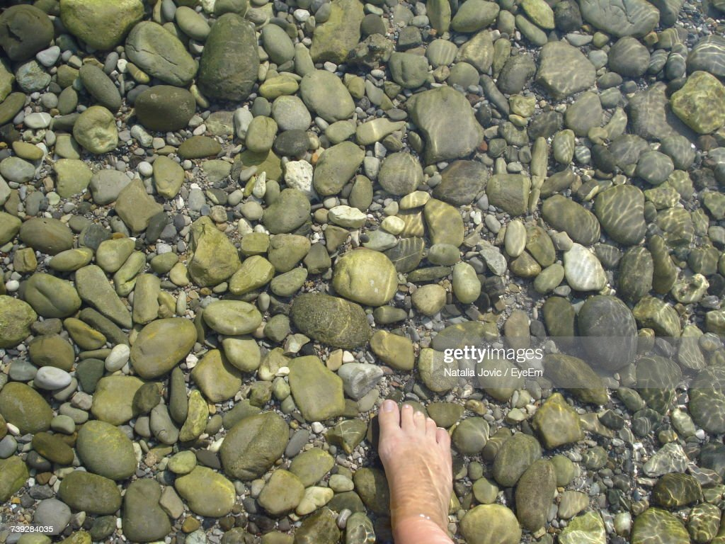 Low Section Of Person Legs On Pebbles : Stock Photo