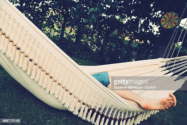 Low Section Of Person Relaxing In Hammock Against Trees