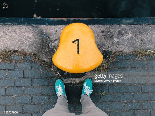 low section of person standing by bollard on pier - グディニャ ストックフォトと画像