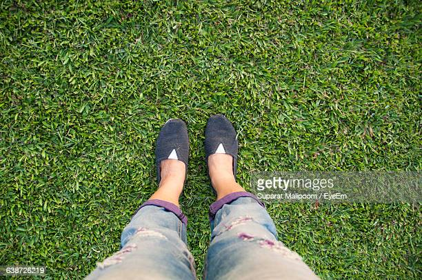 Low Section Of Person Standing On Grassy Field