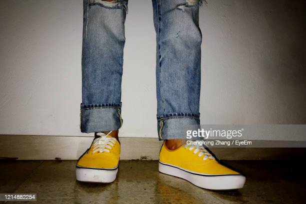 low section of person standing on hardwood floor against wall - parte inferior imagens e fotografias de stock