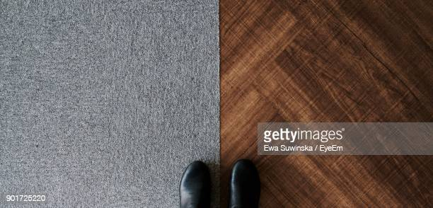 low section of person standing on hardwood floor and carpet - tapijt stockfoto's en -beelden