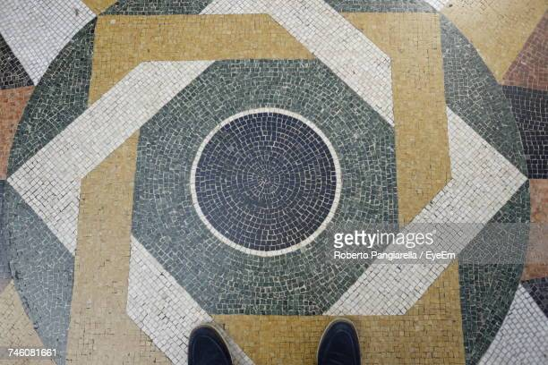 Low Section Of Person Standing On Mosaic Floor