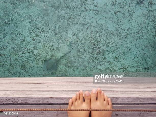 low section of person standing on pier over sea - océan indien photos et images de collection