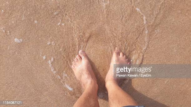 low section of person standing on sand at beach - unusual angle stock pictures, royalty-free photos & images