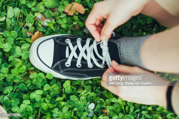 low section of person tying shoelace - tying shoelace stock pictures, royalty-free photos & images