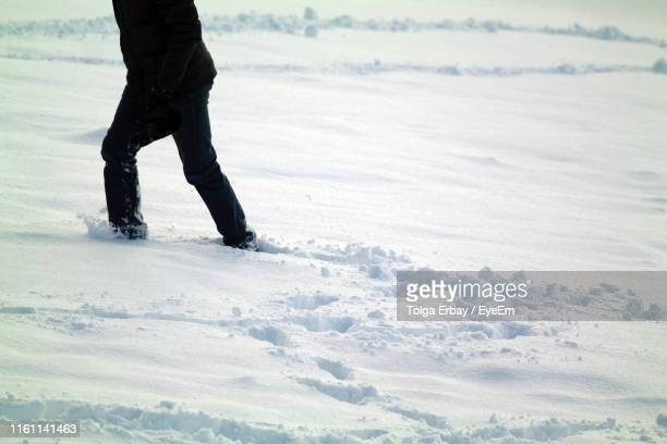 low section of person walking on snow covered field - tolga erbay stock photos and pictures
