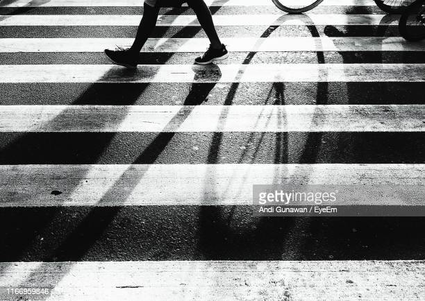 low section of person walking on zebra crossing - low section stock pictures, royalty-free photos & images