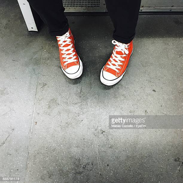 Low Section Of Person Wearing Sports Shoes