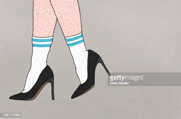 low section of person with hairy legs wearing sports socks and high heels - hairy legs stock photos and pictures