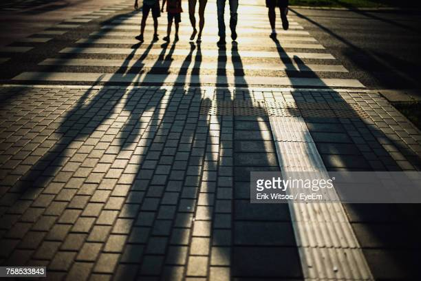 low section of silhouette people walking on zebra crossing - five people stock pictures, royalty-free photos & images
